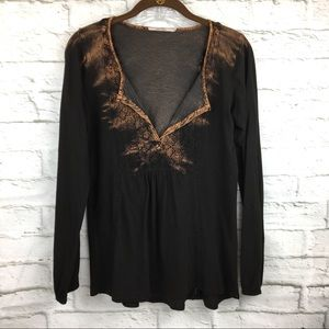 Language Small Top distressed brown lace inserts